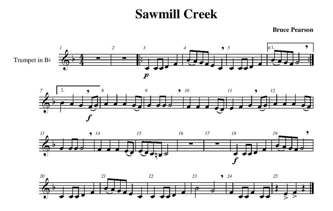 Piano piano and trumpet duet sheet music : Sawmill Creek - Guy B. Brown Music